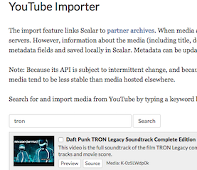 Detail of Scalar's media importer