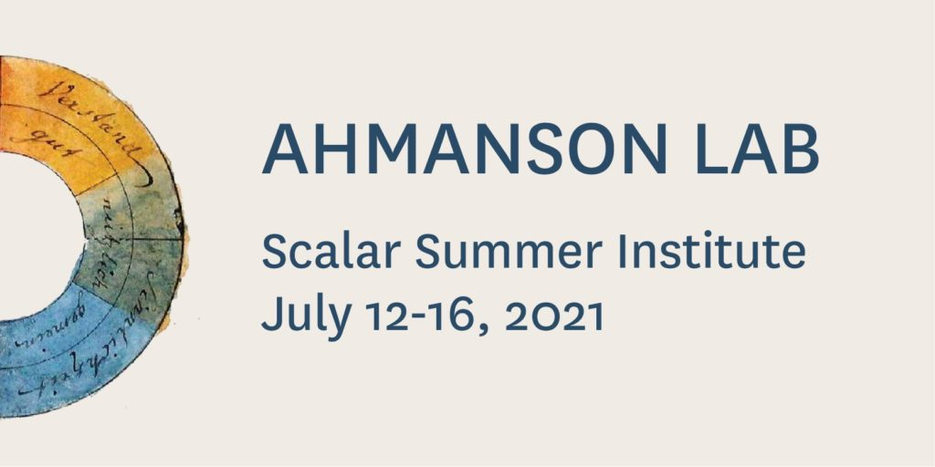 Ahmanson Lab logo with title of and dates of the summer institute